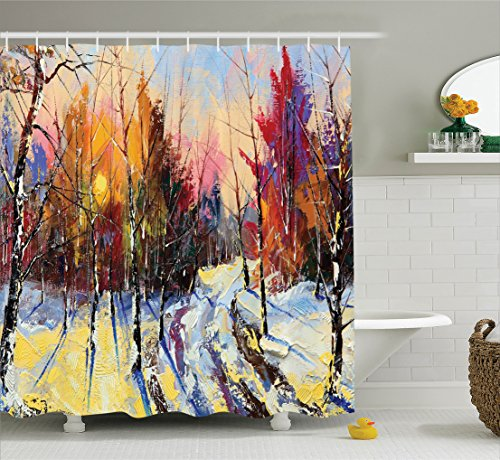 Collection Winter Liners (Ambesonne Country Decor Collection, Pastel Color Paint of Sunset in Old Town Winter Pastoral Countryside Landscape Artprint, Polyester Fabric Bathroom Shower Curtain, 84 Inches Extra Long, Multi)