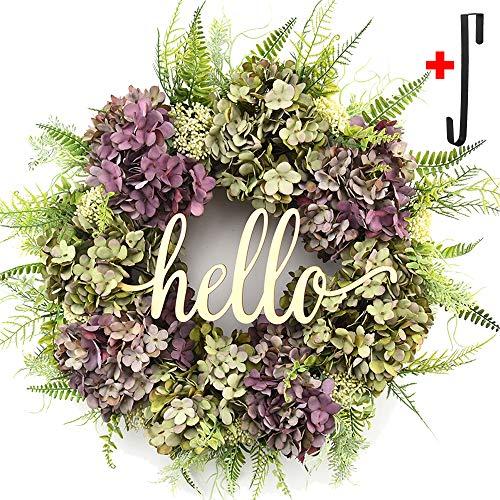 Summer Wreaths for Front Door,Hydrangea Wreaths for Front Door,Hello Welcome Outdoor Handmade Wreath,Fall Spring Wreaths for Front Door,Farmhouse Wreath,Wall Party Wedding Hanging Home -
