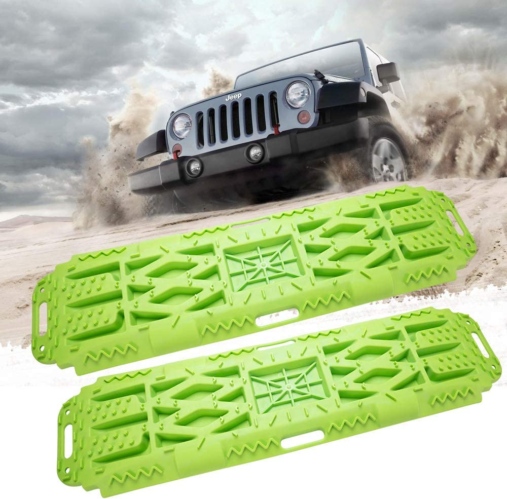 Set of 2 ORCISH Traction Tracks Mat with Jack Lift Base,2 Pcs Traction Boards Recovery Tool for Off-Road 4X4 Mud Snow Track Tire Ladder Sand