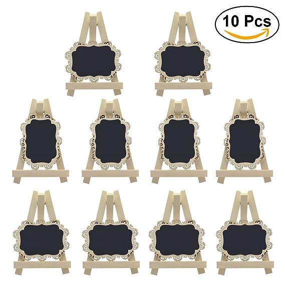 ULTNICE 10pcs mini pizarras rectángulo pizarras con caballete y frontera decorativa para el banquete de boda tabla número signo lugar tarjeta favor ...