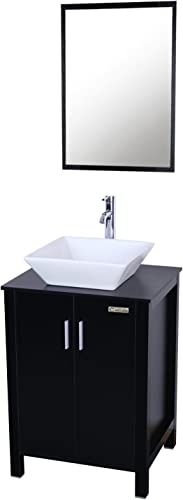 eclife Fashion Design 24 inch Updates Modern Bathroom Vanity and Sink Combo White Square Ceramic Vessel Sink
