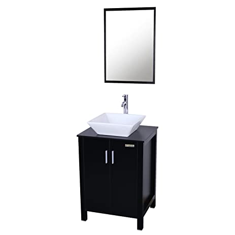 Attractive Eclife Fashion Design 24 Inch Updates Modern Bathroom Vanity And Sink Combo  White Square Ceramic Vessel