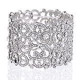 Women's Crystal Heart Art Deco Elastic Stretch Bracelet for Women Prom Wedding Party, Clear Silver-Tone minmin