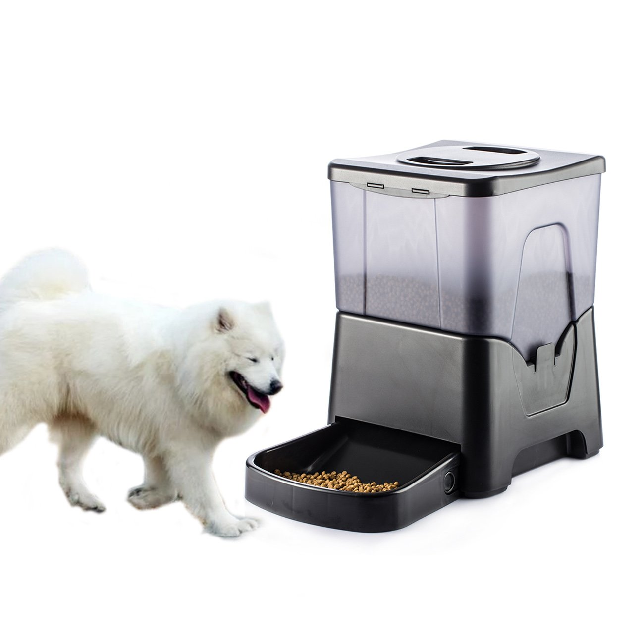 Happy & Polly Pet Feeder Electronic Automatic Pet Distributer 10.56L Large Capacity with LED Display for Dogs Cats