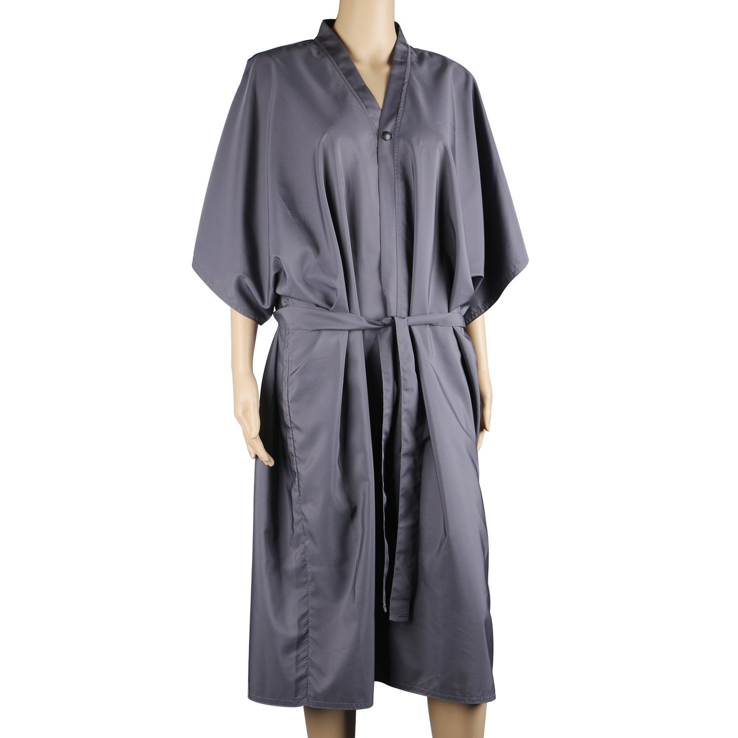 Segbeauty Spa Massage Robe for Beauty Salon, Kimono Robe for Women, Black Smock Cape Dress on Hair Dye Shampoo Makeup, Client Apparel Uniform or Lab Gown