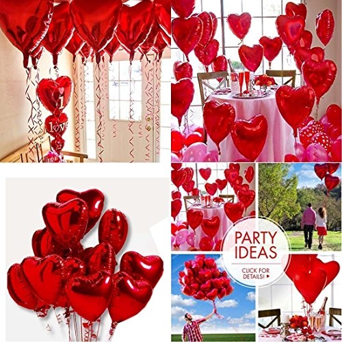 10 Red Heart Love Foil Helium Balloons Valentines Day Wedding Party Decoration