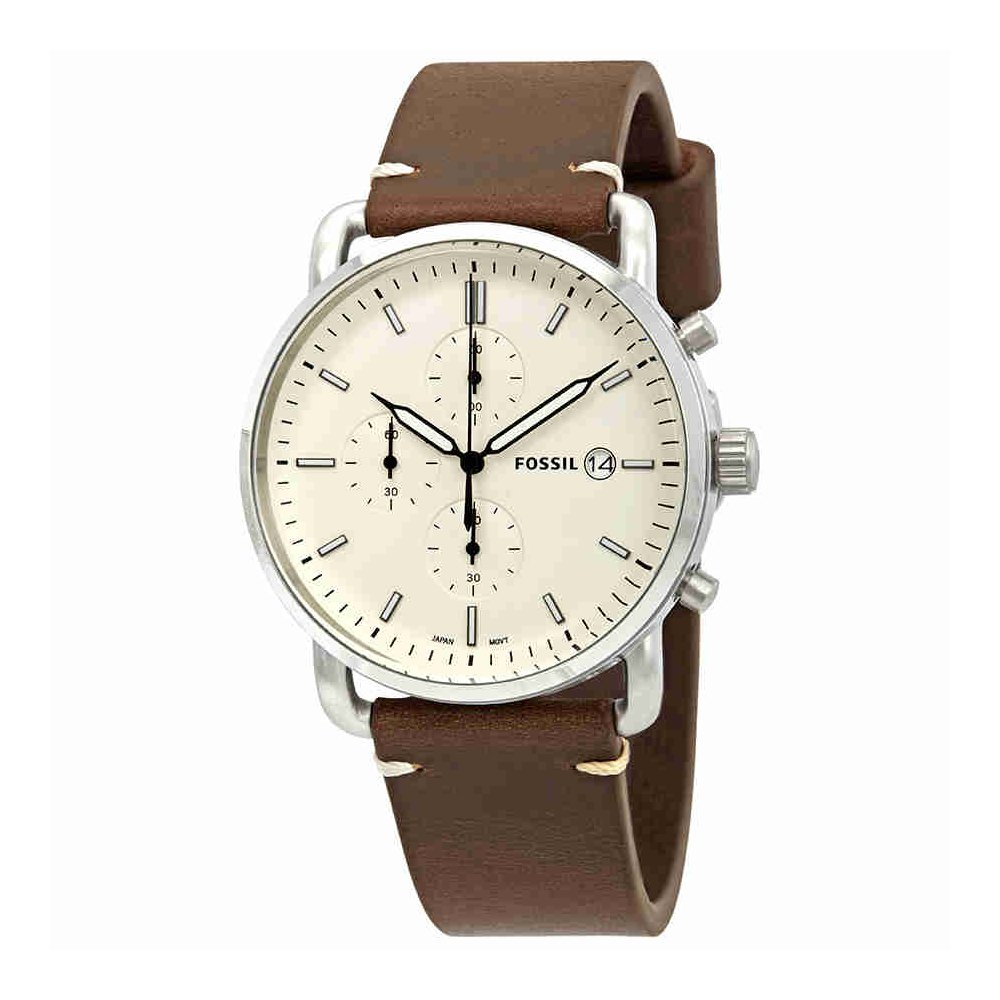 Fossil Men's 'The Commuter' Quartz Stainless Steel and Leather Casual Watch, Color:Brown (Model: FS5402)