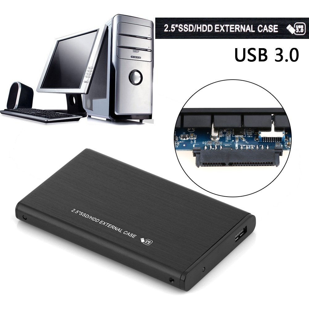 Alloet New 25 Usb30 Sdd Hd Box Hdd Hard Drive Pouch Harddisk External Enclosure Brushed Metal Case Computers Accessories
