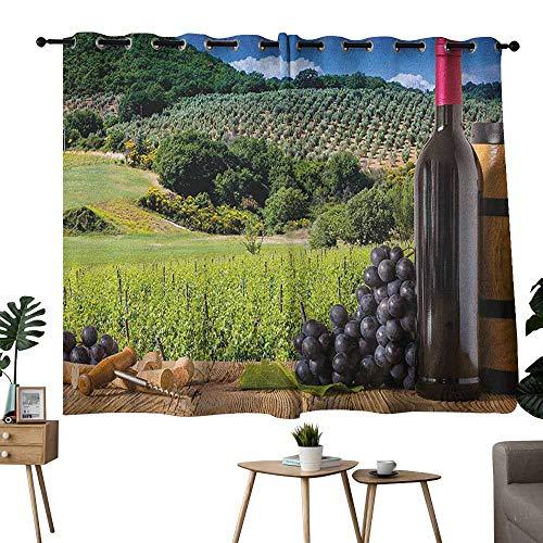 (Mannwarehouse Wine Fashion Curtain Idyllic Tuscany Country Landscape Agriculture Harvest Grape Plantation Set of Two Panels 55