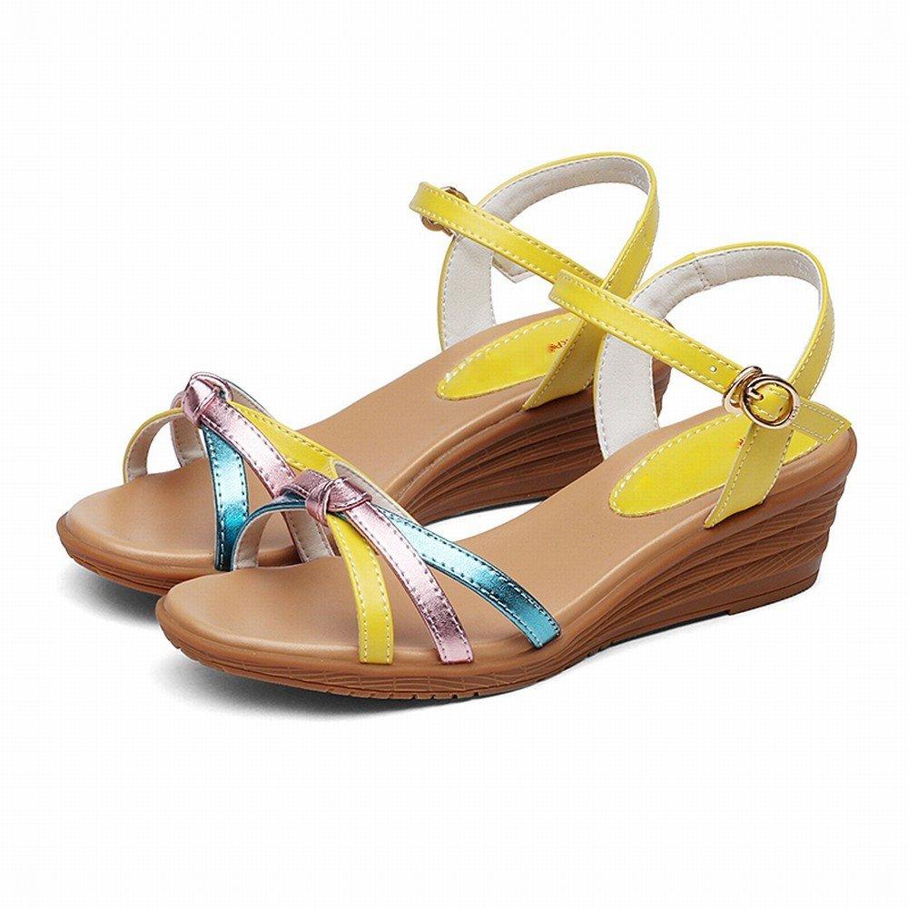 DHG Arbeiten Sie Gemischte Farben Bequeme Steigung Sandalen mit Weiblichen Sandalen Steigung Einer Wortwölbung Um,Gelb,38 - ad4698