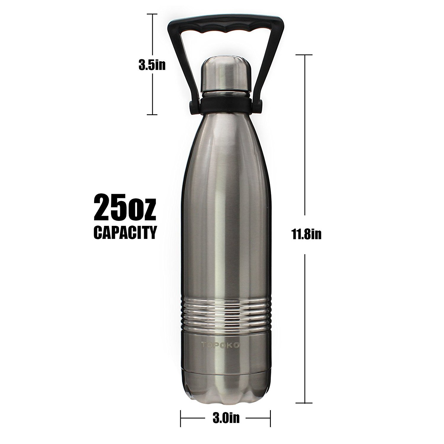 TOPOKO 25 OZ Cola Style Double Wall Stainless Steel Water Bottle Vacuum Insulated Bottle Leak Proof Bottle,BPA Free with Handle Silver