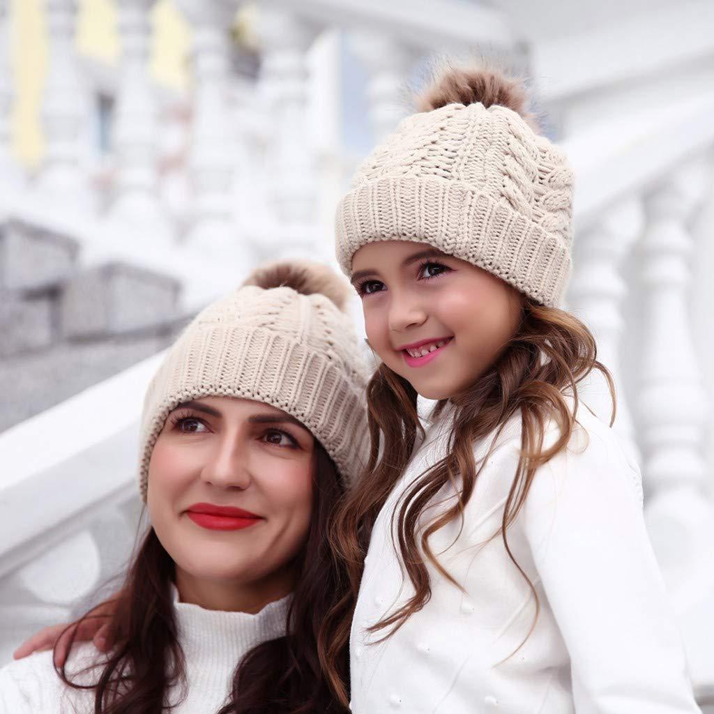 Mbby Cappellino Bimbi Mamma con PON PON 0-7 Mesi Invernale Autunno Chicco Cappello Bambini E Donna Caldo Berretto A Maglia Unisex Neonati