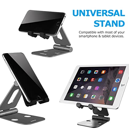 LOBKIN Multi- Angle Universal Stand,Foldable Adjustable Aluminum Phone/Tablet Stand Holder for iPhone 6/6S/7 Plus, iPad, Galaxy S7 S6, Note 6 5, LG, Sony, iPad Pro, iPad Air,E-readers,Kindle (Black)