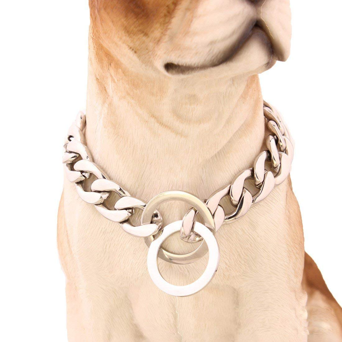 12 inch Pet collar Dog collar mirror polished stainless steel p chain titanium steel chain necklace pet dog training leash Tow Collar 15mmnk link, 20 inches (color   12 inch)
