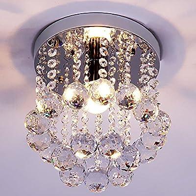 Mini Style 1-light Flush Mount Crystal Chandelier
