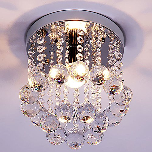 Mini Style 1-light Flush Mount Crystal Chandelier Ceiling Light for Bedroom(Diameter 7.87