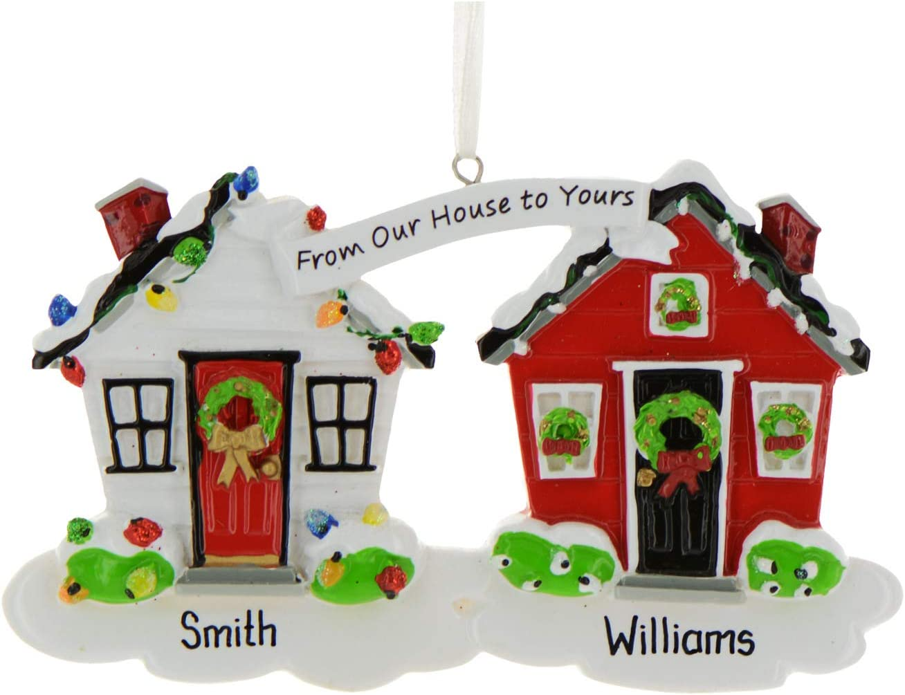 Red White House Christmas Trees 2020 Amazon.com: Personalized from Our House to Yours Christmas Tree