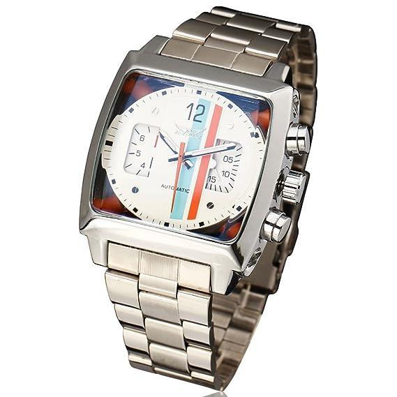 JARAGAR Reloj de diseño deportivo diseño de Rectángulo relogio correa de acero inoxidable para hombre relojes