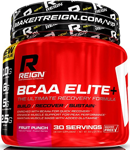 BCAA Elite+ Amino Acids - Post Workout Recovery BCAA Powder with Glutamine - Train Harder, Recover Faster & Build Muscle Mass - Best Bodybuilding Branched Chain Amino Acid Supplement for Men & Women by Reign Performance Nutrition