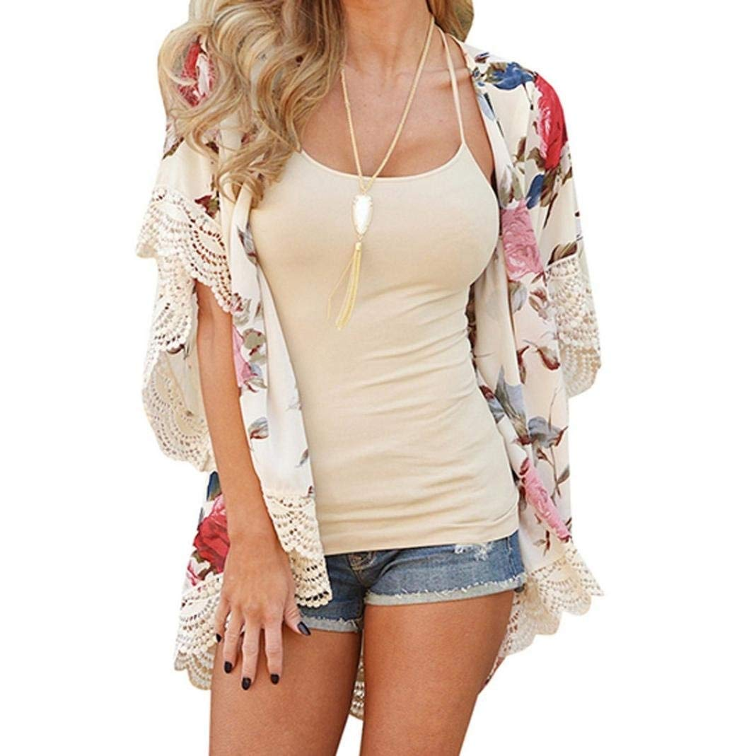Go-First Womens Beach Cardigan Summer Leisure Elegant Chiffon Ethnic Swimsuit Shawl with Personality Lace Classic Cozy Loose Lightweight Bohemia Temperament Swing Dress (Color : Beige, Size : XL) by Go-first Women Swimwear Cover Ups (Image #1)