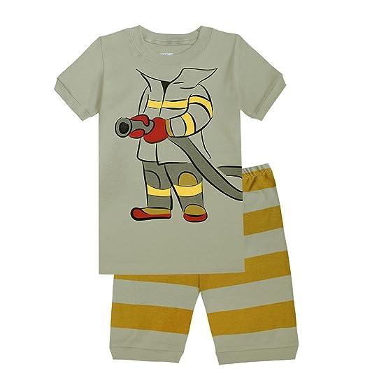 Boys Pajamas Fireman Short Set 100% Cotton Sleepwear Toddler PJS Gray 10T