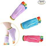 EQLEF® 3 Pairs Womens Anti-Slip Grip Workout Yoga Socks