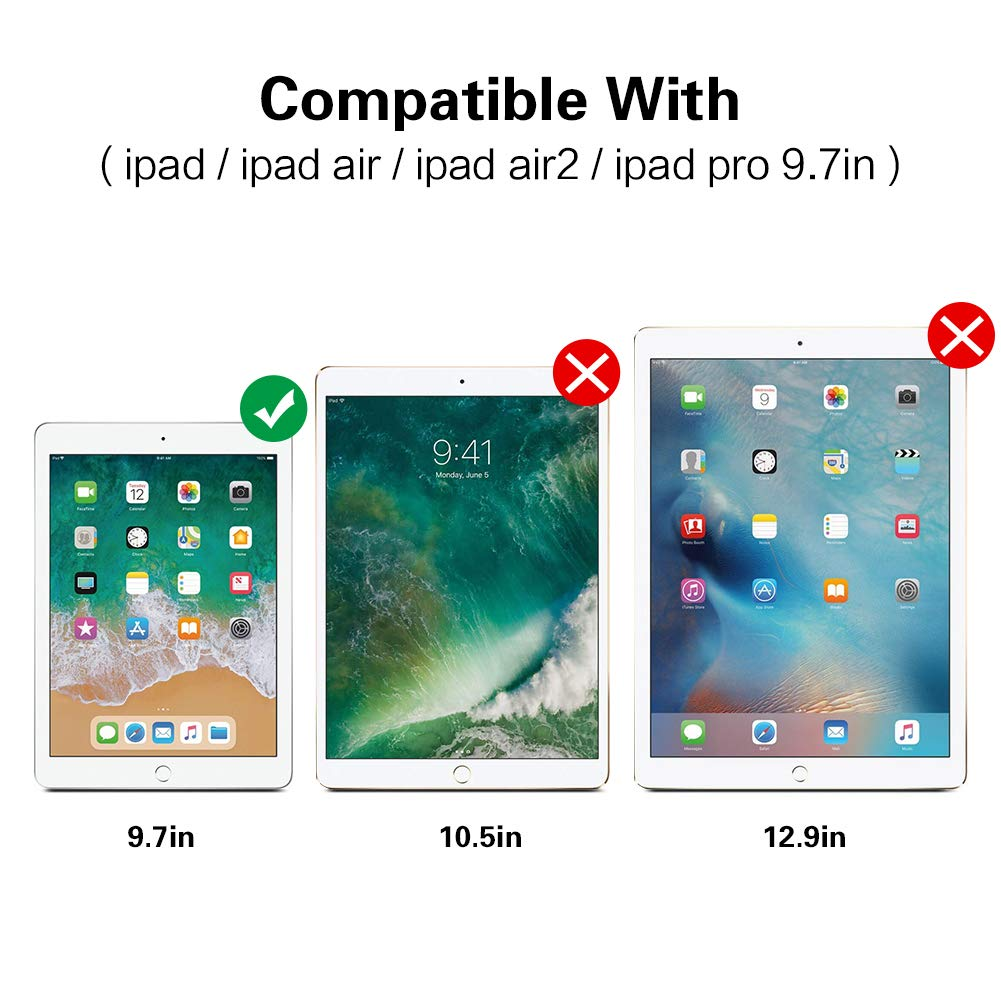 for Apple Ipad Pro 9.7 Apple Pencil Compatible Screen Protector for Ipad Pro 9.7-2.5D Rounded Edge Tempered Glass Screen Protector 9.7IN 0.33mm