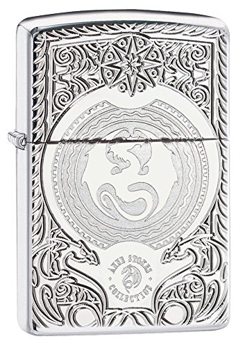 Zippo Anne Stokes Dragon Design Pocket Lighter, High Polish Chrome -