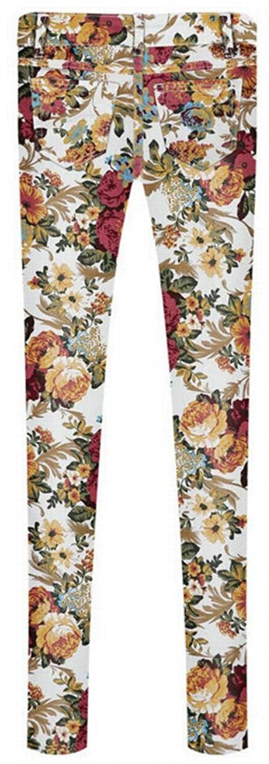 Oberora Women Stretchy Low Waist Print Casual All-match Pencil Pants