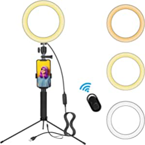 8 Inch Selfie Ring Light with Tripod Stand and Phone Holder - for Youtude Video Recording Live Streaming Photography Vlogging,Led Camera Ringlight Compatible with All iPhone and Most Android Phones