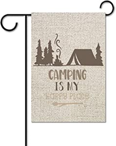 BYRON HOYLE Garden Flag, Camping is My Happy Place 6873 Outdoor Yard Flag,Funny Inspirational Sayings Garden Flag,Vertical Double Sided,Farmhouse Yard Holiday Seasonal Outdoor Indoor Decor