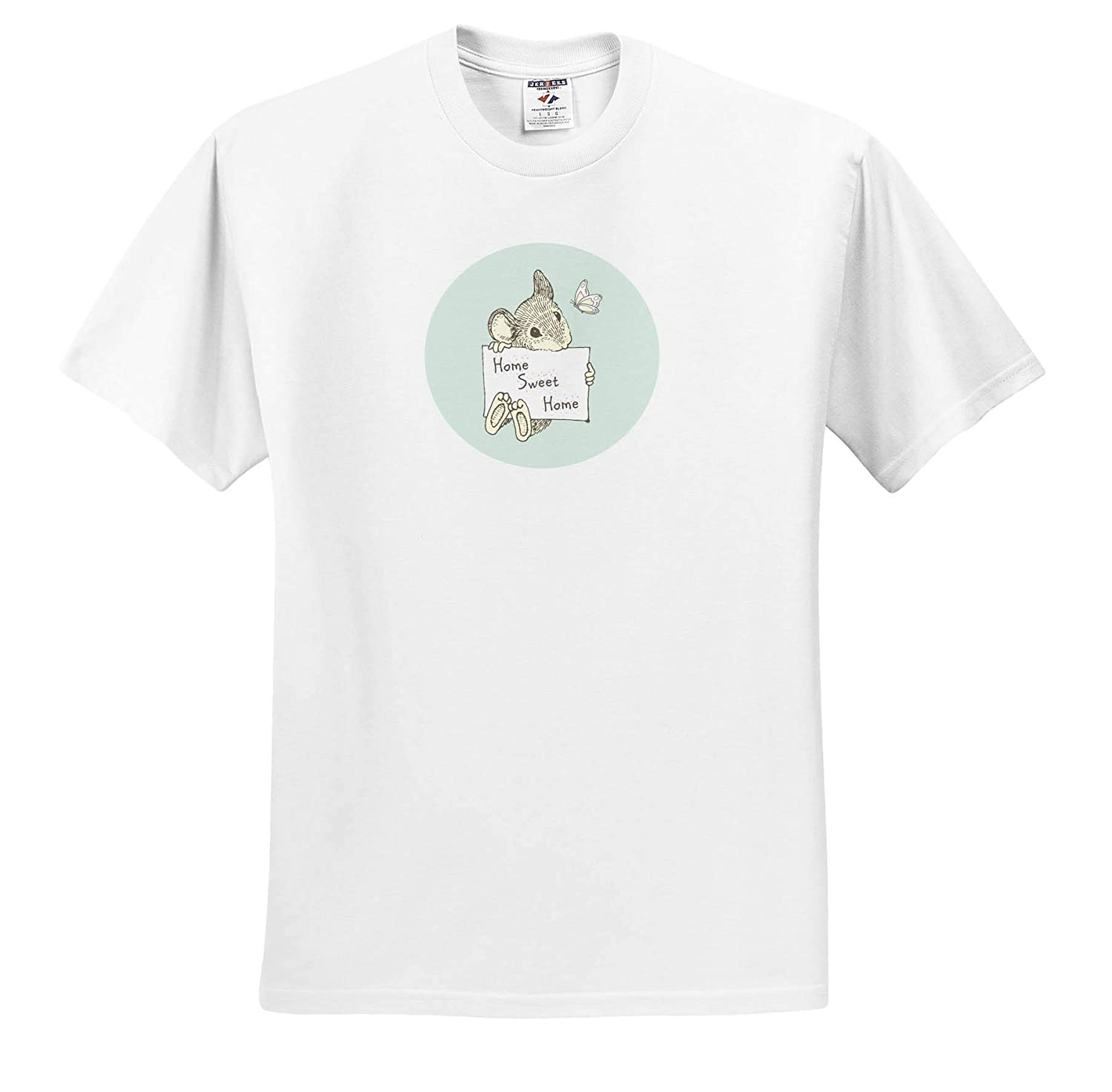 3dRose Russ Billington Pastel Nursery Cute Little Mouse and Butterfly with Text Home Sweet Home T-Shirts