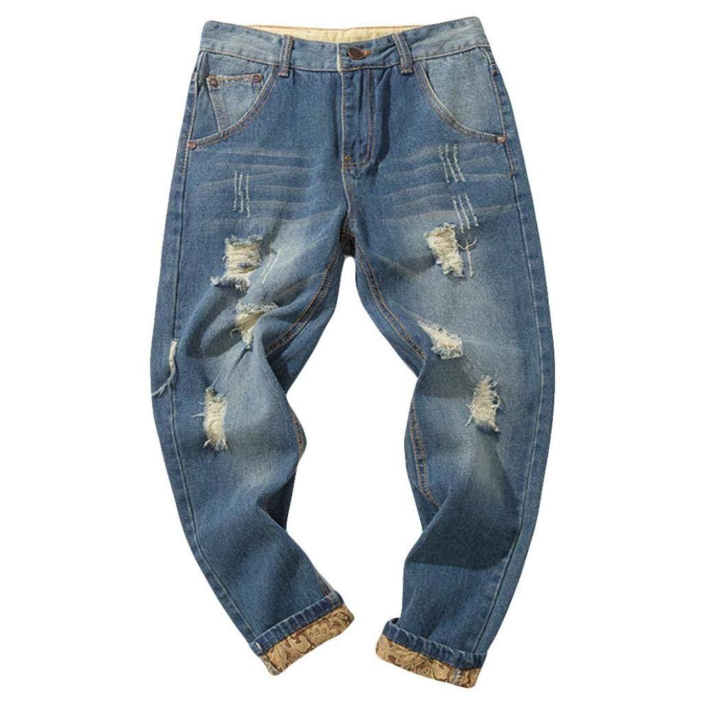 Willsa Men's Pants, Fashion Casual Autumn Vintage Wash Denim Hole Work Trousers Jeans Pants