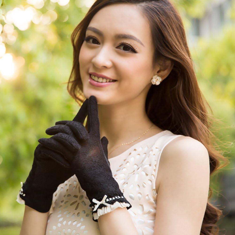 Nappaglo Women Fingerless Lace Touchscreen Driving Bowknot Summer UV Gloves NEW