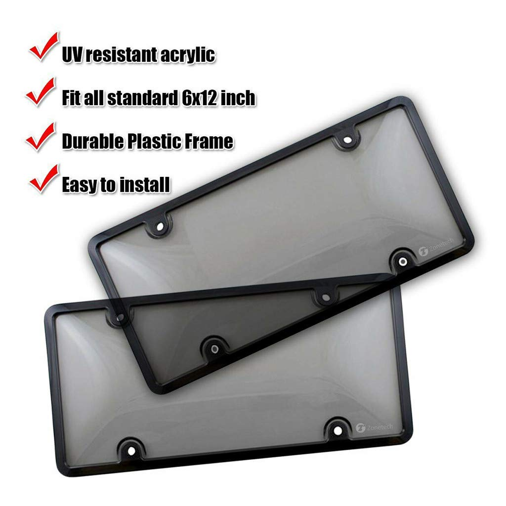 Philohewen License Plate Cover Frame Shield Combo 2-Pack Premium Shield and Frame
