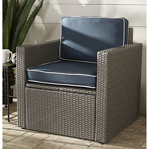 Outdoor Patio Armchair Made of Resin Wicker with Water Repellant Cushion For Sale