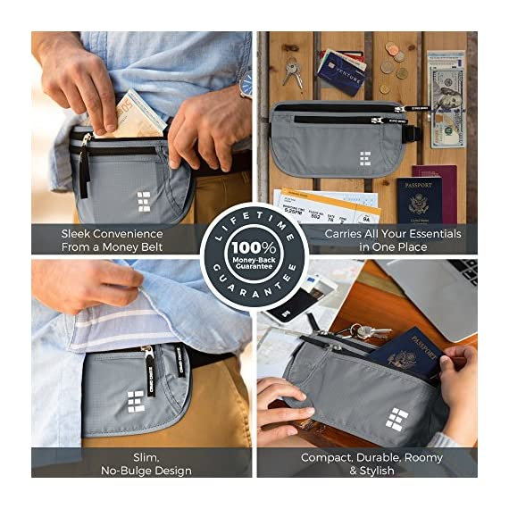 Zero Grid Money Belt w/RFID Blocking - Concealed Travel Wallet & Passport Holder 6 PROTECTS YOUR VALUABLES & IDENTITY - A money belt for travel for men and women. This belt wallet for travel conceals cash, credit cards & other valuables from pickpockets. Built in RFID Blocking safeguards your passport and credit cards and personal information inside the wallet belt against identity theft. BONUS GIFT - 7 RFID Blocking Sleeves for your ultimate peace of mind (6 Credit Card & 1 Passport) - For use ONLY when your passport or credit cards aren't inside the money belt. DESIGNED FOR SAFE INTERNATIONAL TRAVEL - Invaluable for crowded marketplaces, airports, an airplane, buses, trains, sporting events and music festivals. A thin travel belt and passport wallet for women and men that is virtually invisible to thieves, feel secure in any environment. Wear under your clothes for pickpocket proof protection. COMFORTABLE & FULLY ADJUSTABLE - Constructed from ultra-lightweight, water-resistant 210D Ripstop Nylon. Breathable, moisture-wicking back eliminates uncomfortable moisture and heat. Soft elastic waistband adjusts to fit Men and Women.