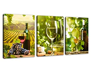 Kitchen Art Canvas Prints Grapes Wine Bottles Pictures For Wall Decor 3 Pieces Canvas Art