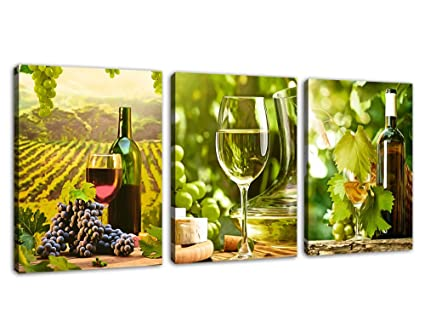 Kitchen Canvas Art Grapes Wine Bottle Pictures for Dining Room Wall Decor -  3 Pieces Canvas Art Fresh Style Fruits Themes Painting Modern Artwork ...