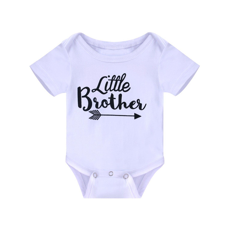 Alician Baby Boys Little Brother Arrow Print Romper Short Sleeve Onesie