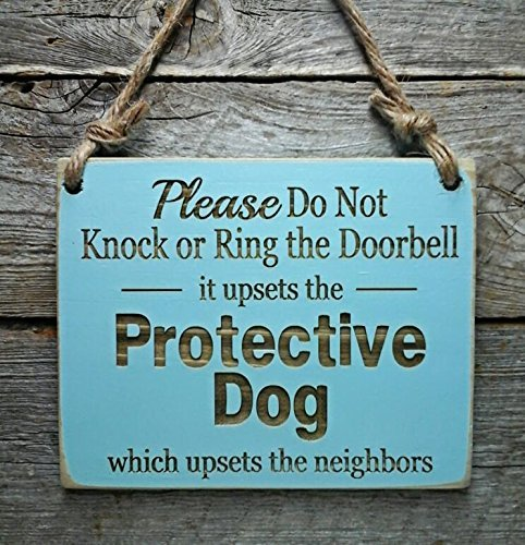 Protective Dog Do Not Disturb Sign - Front Door Sign - No Soliciting Sign - Beware of Dog