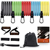 COSMIRROR Resistance Bands Set for Women & Men (11pcs), 5 Stackable Exercise Workout Bands with Door Anchor, Handles and…