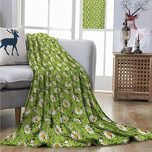 Homrkey Lightweight Blanket Nature Chamomiles and Ladybugs in Spring Season Blooming Flowers and Wildlife Soft Blanket Microfiber W60 xL80 Apple Green Marigold Red