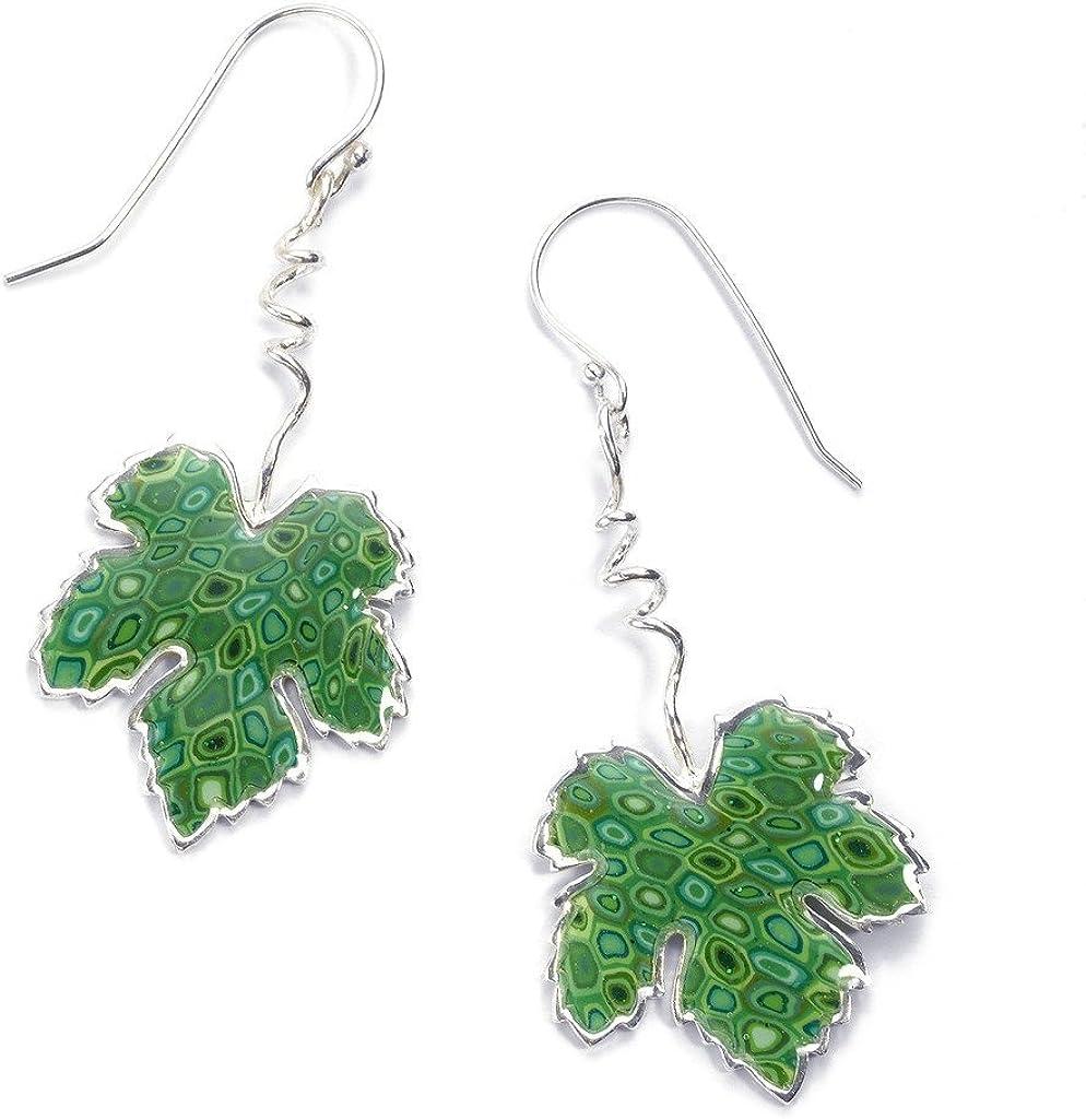 Joyas naturaleza verde - Dijes de plata con hojas - Aretes colgantes de hoja de parra en arcilla polimérica - Dijes millefiori - Regalos hechos a mano