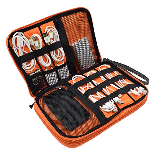 LIFEMATE Travel Accessories Electronics Organizer, Universal Cable Management Organizer Travel Bag For USB, Phone, iPad, Charger and Cable(Double Layer, Large, Grey and Orange) by LIFEMATE (Image #1)