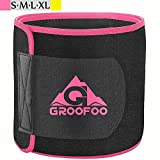 Waist Trimmer Belt, GROOFOO Adjustable Waist Trainer Band Belly Weight Loss Wrap for Women & Men, Stretchy Material, Powerful Velcro