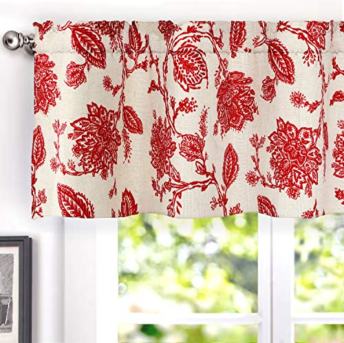 DriftAway Freda Jacobean Floral Linen Blend Blackout Thermal Insulated Energy Saving Privacy Window Curtain Valance Rod Pocket 2 Layers Single 50 Inch by 18 Inch Plus 2 Inch Header Red Beige (Floral Jacobean)