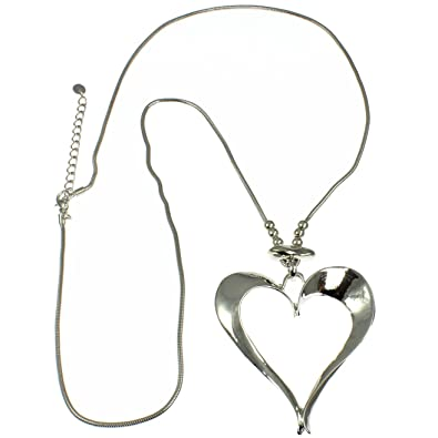 94bd0f7b182b Unique Gifts On The Web Quirky Large Open Heart Pendant Lagenlook Silver  Colour Shiny Long Chain Necklace  Amazon.co.uk  Jewellery