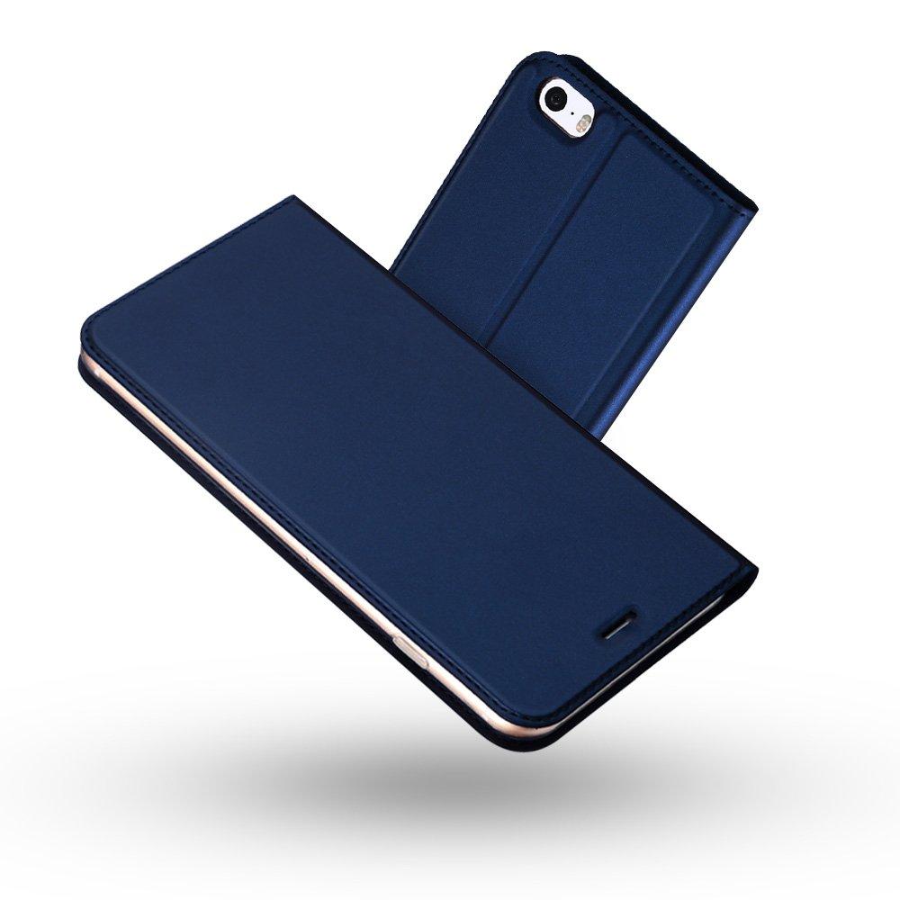 Radoo Cover iPhone 5, Cover iPhone 5S, Cover Slim-Fit Folio Premium Vintage PU Pelle con [Kickstand] Lusso Tasca Stile Unico Sottile Funzione TPU Antiurto Flip Cover a Libro(Oro) RAD-LLPISE-01