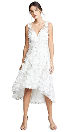 9571c1f5 Marchesa Notte Women's High Low Cocktail with Flower Petals, Ivory, White,  12 at Amazon Women's Clothing store:
